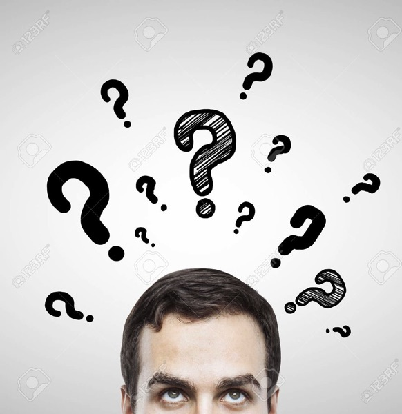 19063113 man with questions symbol on gray background Stock Photo question think planning
